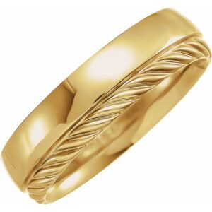 yellow gold single sided rope edge band