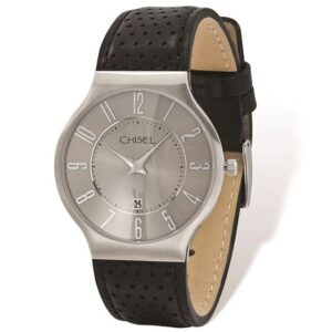 Mens Chisel Stainless Steel Grey Dial Black Leather Watch