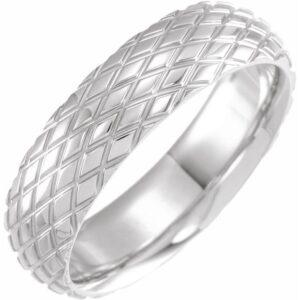 rhombus pattern mens wedding band