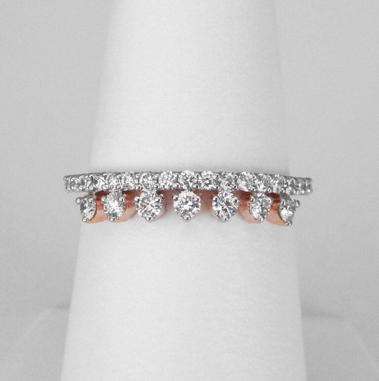 rose gold double row diamond band