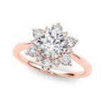 rose gold diamond halo engagement ring