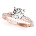 rose gold twisted diamond shank engagement ring