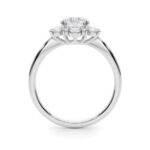 side view of white gold diamond halo engagement ring