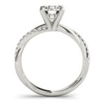 side view of twisted diamond shank engagement ring