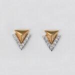 two tone gold diamond triangle earrings