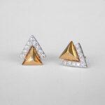 two tone gold diamond triangle earring studs