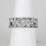 white gold diamond floral fashion band with milgrain edges