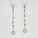 yellow gold akoya pearl dangle earrings