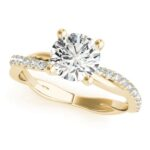 yellow gold twisted shank diamond engagement ring