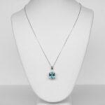 white gold aquamarine and diamond pendant on chain