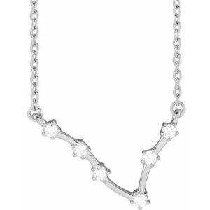 14K White 1/8 CTW Diamond Zodiac Necklace
