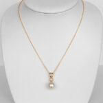 yellow gold pearl and diamond necklace