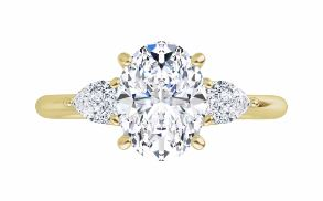 three stone pear shape diamond accented engagement ring