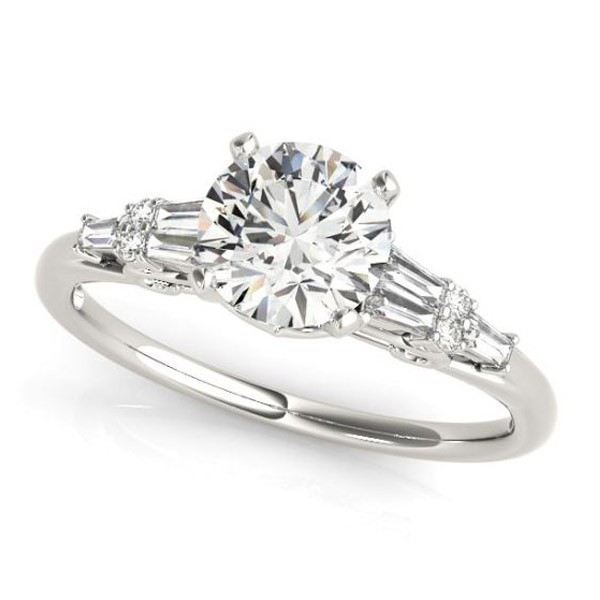 white gold baguette accented diamond engagement ring