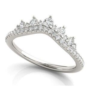 white gold chevron diamond band