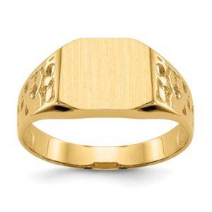 mens yellow gold signet ring