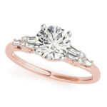 rose gold baguette accented diamond engagement ring