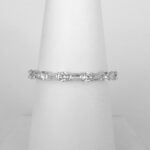 white gold baguette and round diamond band