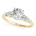 yellow gold baguette accented diamond engagement ring