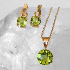 yellow gold peridot solitaire pendant and earrings