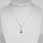 yellow gold ruby and diamond pendant on chain