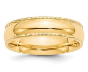 yellow gold comfort fit wedding band with milgrain edges