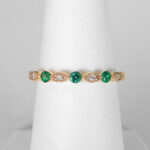 yellow gold emerald and diamond band
