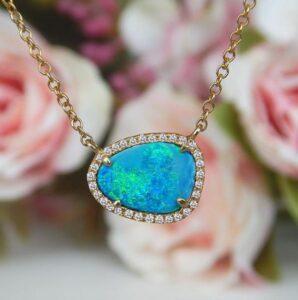opal and diamond pendant