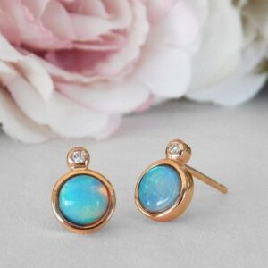 rose gold opal and diamond earrings
