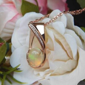 rose gold opal pendant