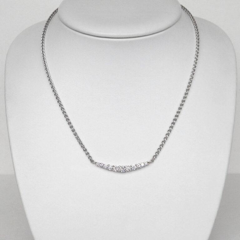 white gold graduated diamond necklace